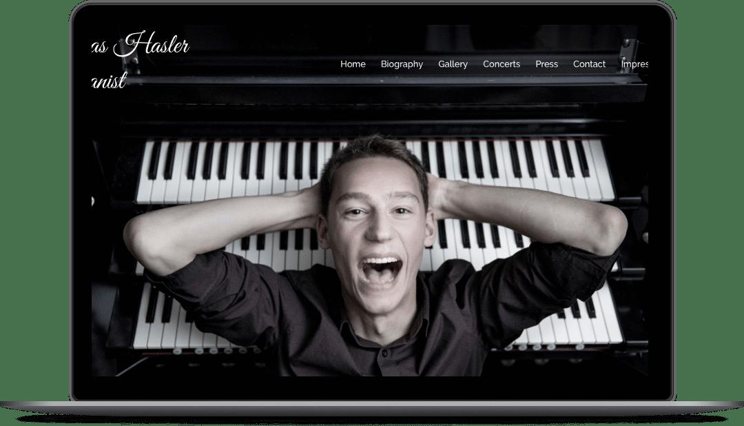 Webdesign für den jungen Grazer Star-Organisten Lukas Hasler auf der Website lukashasler.com